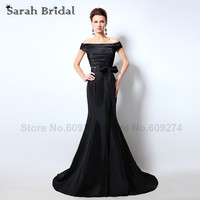Sarahbridal שחור טפטה בת ים שמלות ערב עם סירת צוואר ארוך אבנט קשת SD317 סרטי robe soiree שמלה לנשף בתוספת גודל