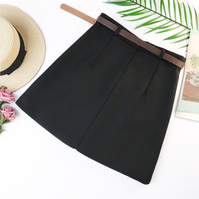 2019 Spring New Arrival Vintage Temperament High Waist A-line Office Skirts Womens With Belt Woolen Mini Skirt Free Shipping 2