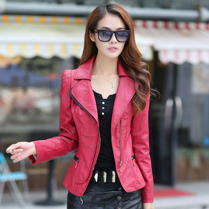 2015 autumn women's pew PU plus cotton   leather   clothing female short design outerwear thickening plus size spring and autumn