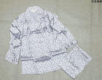 100% mulberry silk pajamas set, men's silk home wear, long sleeve trousers, gray Plaid printing, big size, loose blasting 7