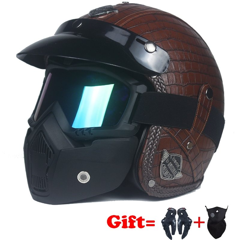 Send a Gift Motorcycle Chopper Bike helmet open face vintage motorcycle helmet with goggle mask PU Leather Harley Helmets 3/4