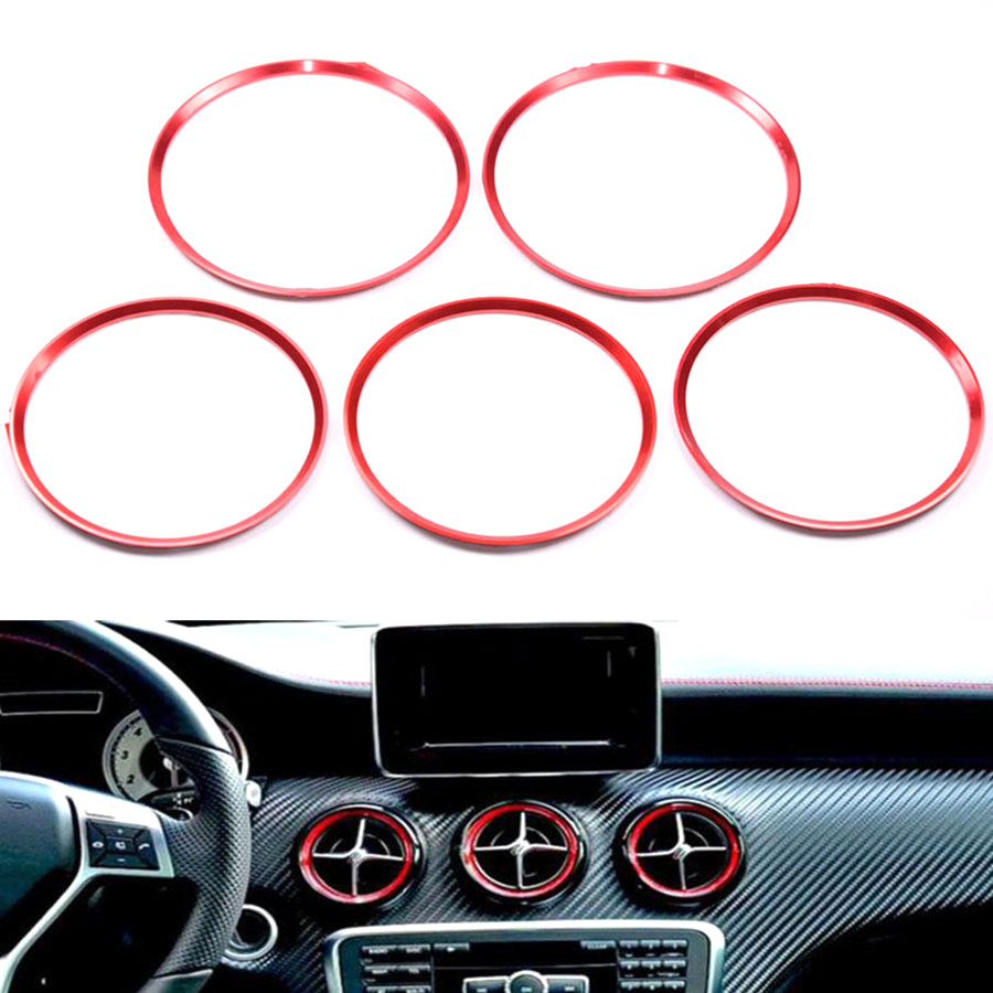YAQUICKA 5x Car Front Air Condition Trim Outlet Vent Ring Cover Trim Circle For <font><b>Mercedes</b></font> Benz A/<font><b>B</b></font>/CLA/GLA Class <font><b>180</b></font> 200 220 2015 image