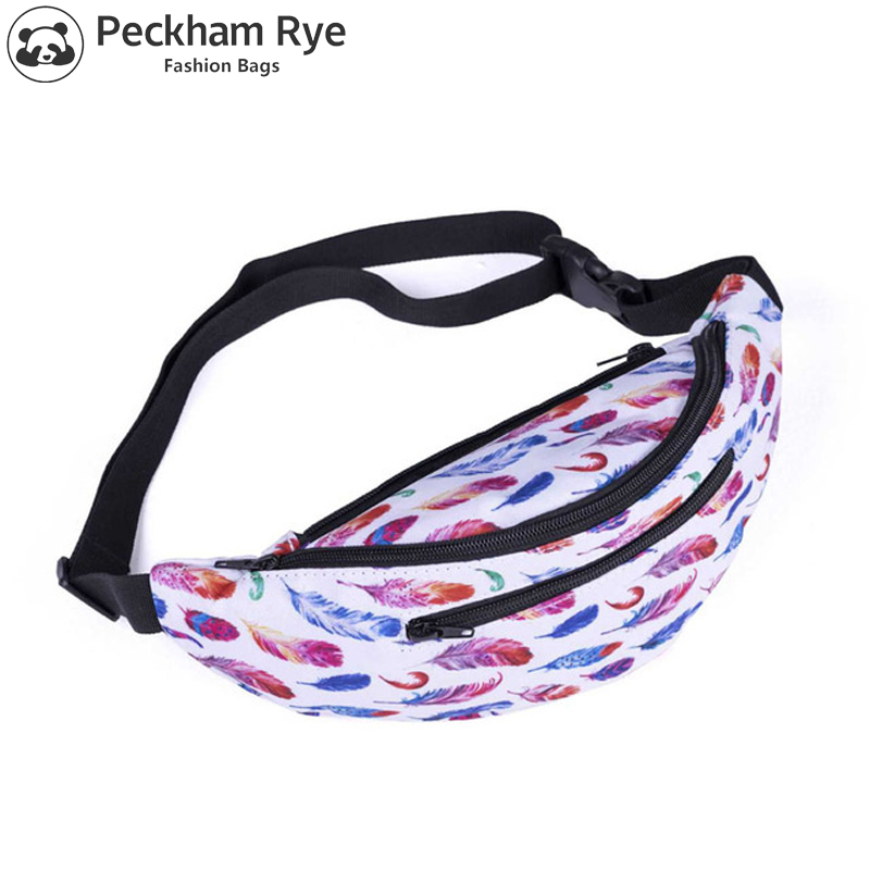 FASHION 3d Printed Feather Pattern Belt Bum Leg Bag Women Waist Packs For Girls Travel Phone Purse Unisex Fanny Packs Hip Bags