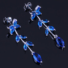 Outstanding Plant Blue Cubic Zirconia 925 Sterling Silver Drop Dangle Earrings For Women V0718