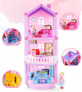 DIY Doll House For LOL Doll Princess Dollhouses Villa Castle With Furnitures Simulation Dream Girl Toy House for Kids