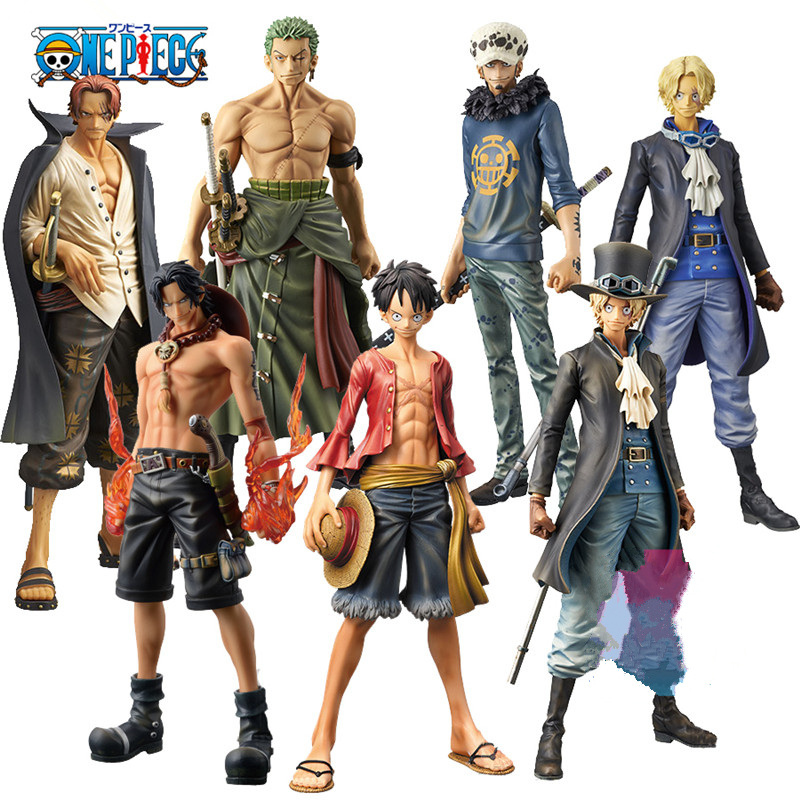 Anime One Piece Pop Action Figure Toys 25cm After 2 Years Luffy Zoro Sabo Law Shanks Ace 1/8 Scale Painted PVC Model Doll giftS
