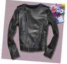 Autumn black street fashion motorcycle genuine leather jacket womens sheepskin coats short round collar slim star style S – 2XL