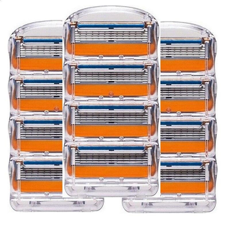12 pcs/pack. hommes lames de Rasoir soins du visage rasage cassettes hommes rasage lames Compatible avec gillettee fusione proglide