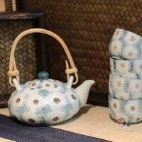 Japanese bule de chá bule copo combinação terno Kung Fu cerâmica chaleira de porcelana teaware jogo de chá artesanal caixa de presente do vintage|Jogos de chá| |  -