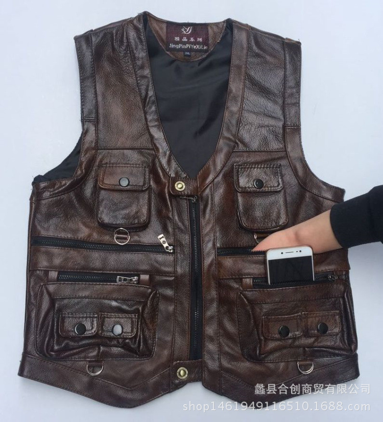 More than 2018 men thick head layer cowhide leather vest reporters take vest