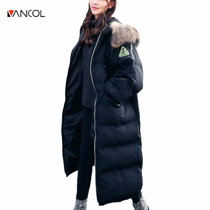 vancol 2016 Korean fashion female plus size thick padding cotton coat casual zipper long women winter jacket with hood and fur