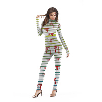 2019 T1005 Halloween Blood Splash Cosplay Printed Femme Bodysuit Playsuit Overalls Sexy Tights Fitness Women Jumpsuits Yogo Sets