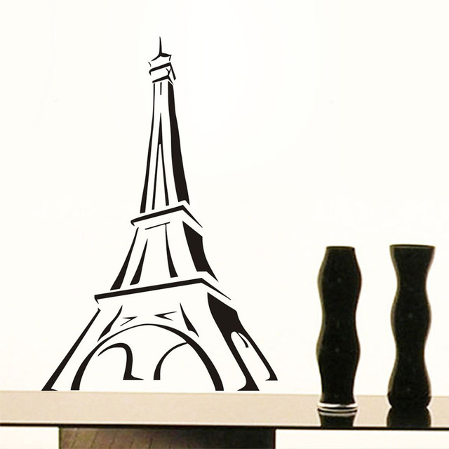 Promotion Paris Eiffel Tower Wall Stickers Romantic Bedroom Wall Decor  Simple Background Decorative Vinyl Decals Home