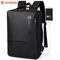 Aoking Backpack Men Anti Theft Travel Black Softback with Air Cushion 15.8 Laptop Waterproof Bag with Usb Large Bussiness Bags