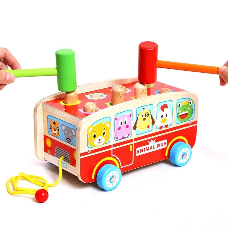 Toddler Noise Marker Toy Hamster Wooden Hammer Toys Cutely Animals Bus Pull Toys for Infant Education Children Montessori Toys