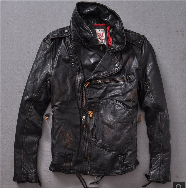 2015 Retro Do the old Thicken Locomotive Cowhide Jacket Lapel Diagonal zipper Distressed Men's leather jackets