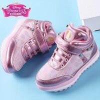 Disney winter kids shoes girls kinder school sneakers children shining casual shoes rivet white princess waterproof shoes