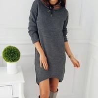 Autumn Causal Robe Winter Women Dress Knitted Sweater Dresses Basic Office Dress Female Vestidos Long T
