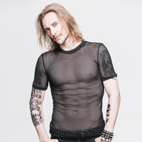 Devil Fashion Steam Punk Men S Sexy See Through T Shirt Gothic Black O Neck Short