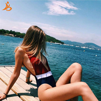 2018 YD Summer One Piece Swimsuit Patchwork Swimwear Women Monokini Swimming Suit For Women Push Up