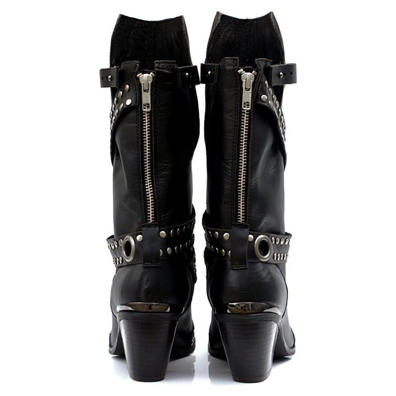 Ayakk.'ten Diz Altı Çizmeler'de Prova Perfetto Avrupa Popüler Kadın Orta Buzağı Çizmeler Perçin Yüksek Topuk Botları Sıcak Kürk Ayakkabı Demir Sivri Burun Boot kadın ayakkabısı'da  Grup 3