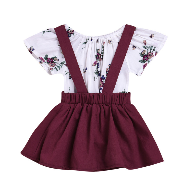 2PCS Newborn Toddler Kids Baby Girl Summer Clothes Sunsuit Floral Romper T-shirt Tops Tutu Skirt Bib Dress Girls Clothing Sets