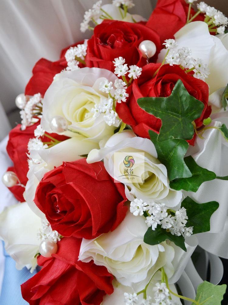 Blue white Waterfall Elegant Wedding Bouquets Artificial Bridal Brooch Bouquet Wedding Bouquet For Brides Bruidsboeket 2017 5
