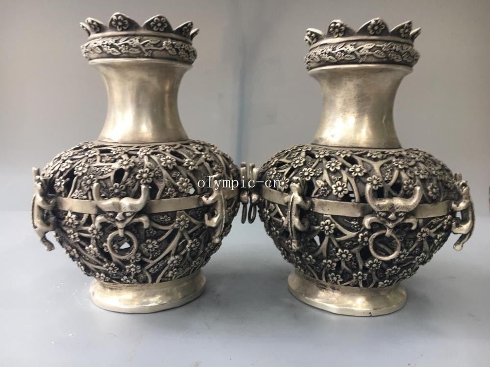 Pair 10 tibetan bronze silver hollow out carved beast flower vase statuePair 10 tibetan bronze silver hollow out carved beast flower vase statue
