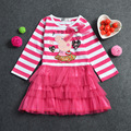 free shipping 2017 spring autumn new fashion casual cartoon pig full sleeves kid children baby girl dresses girl clothes