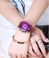 Guou Brand Rhinestone Crystal Watch Glass Multicolour Genuine Leather Belt Fashion Personality Big Dial Dial Wristwatches