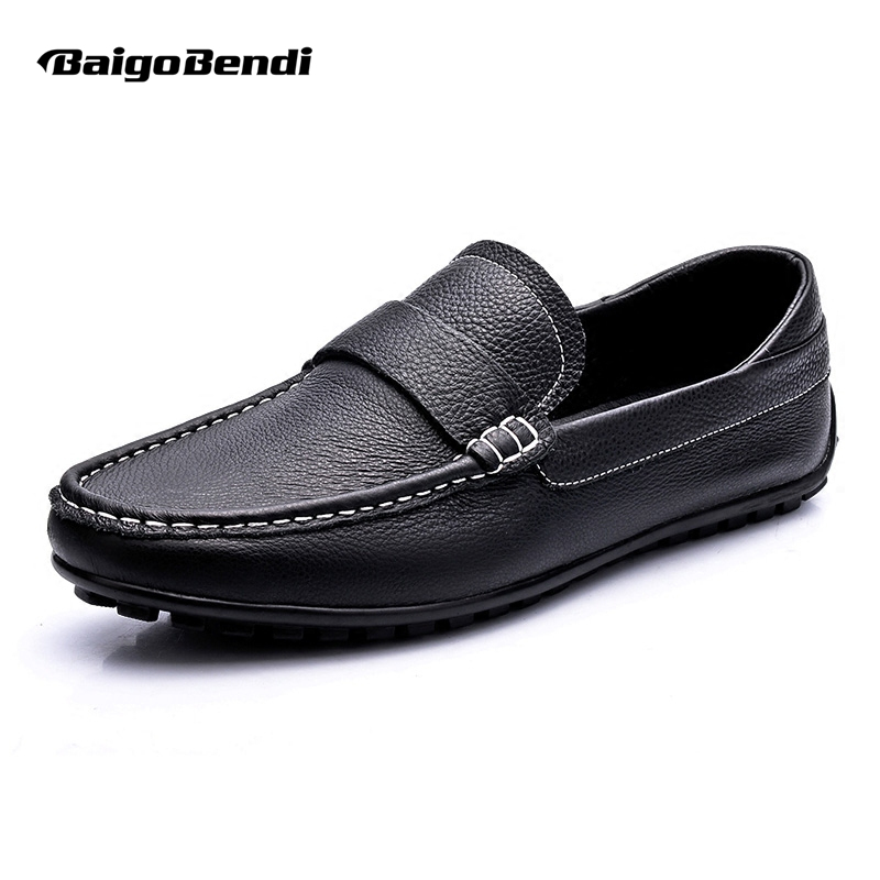 US6-10 Genuine Leather Men Casual Slip on Loafer Formal Wedding Office Shoes 2 colors us size 6 10 slip on leather casual men driving loafer moccasin summer sandals shoes