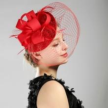 Модный черный/белый/красный/бежевый льняной в форме птичьей клетки, свадебный цветок перья Гламурные свадебные шляпы невесты лицо вуаль свадебные аксессуары