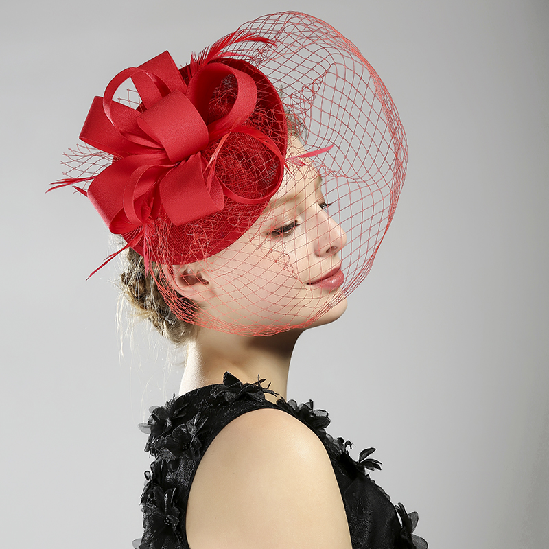 Fashion Black/White/Red/Beige Linen Birdcage Bridal Flower Feathers Glamorous Bride Wedding Hats Face Veils Wedding Accessories
