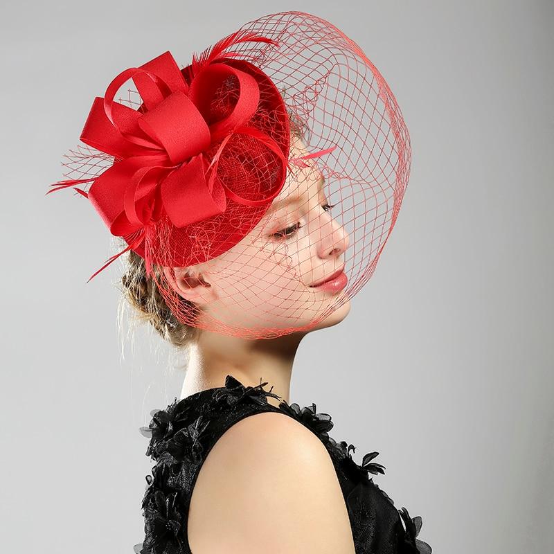Fashion Black/White/Red/Beige Linen Birdcage Bridal Flower Feathers Glamorous Bride Wedding Hats Face Veils Wedding Accessories