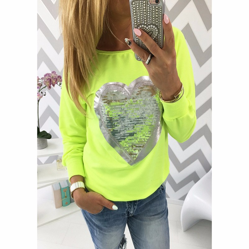 HTB1znVkLpXXXXXjXVXXq6xXFXXXU - Fashion Autumn t shirt women heart sequin top round neck