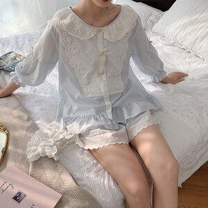 Image 3 - Vrouwen Lolita Prinses Kant Pyjama Sets Katoen Tops + Shorts.Vintage Dames Meisje Kant Pyjama Set. Zomer Nachtkleding Loungewear