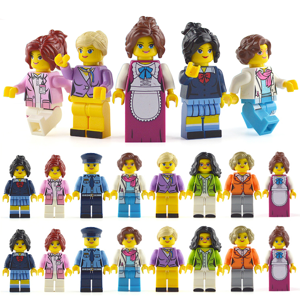 LegoINGlys Minifigure 16pcs/lot Building Blocks Figures bricks DIY Toys Police Soldier Occupations Mini People for Girls GiftLegoINGlys Minifigure 16pcs/lot Building Blocks Figures bricks DIY Toys Police Soldier Occupations Mini People for Girls Gift