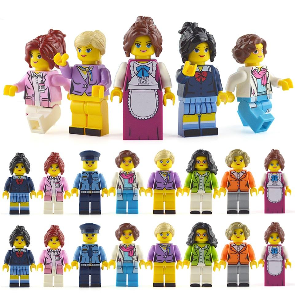 LegoINGlys Minifigure 16pcs/lot Building Blocks Figures Bricks DIY Toys Police Soldier Occupations Mini People For Girls Gift