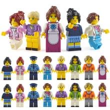 LegoINGlys Minifigure 16 шт./лот здания блочные фигурки Кирпичи DIY игрушечные лошадки полицейский солдат профессии мини людей для подарок девочек