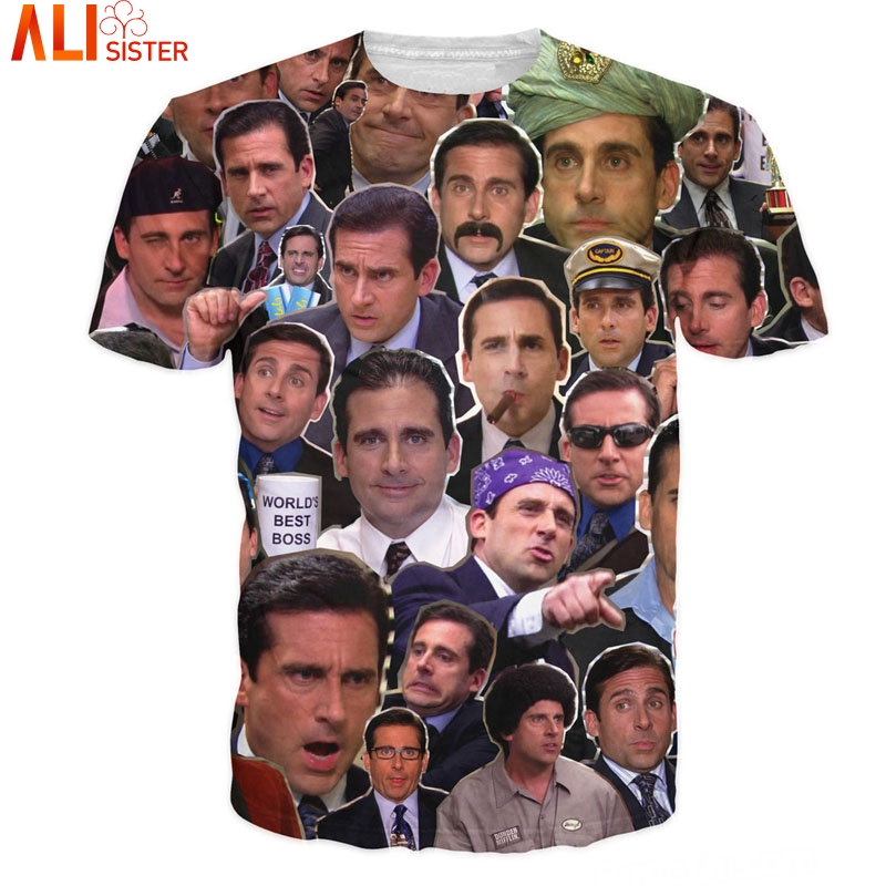 Many Faces Of Michael Scott T-Shirt Hip Hop 3d T Shirts Alisister Tees Men's Summer Pullover Outfits Crewneck Tops Drop Ship