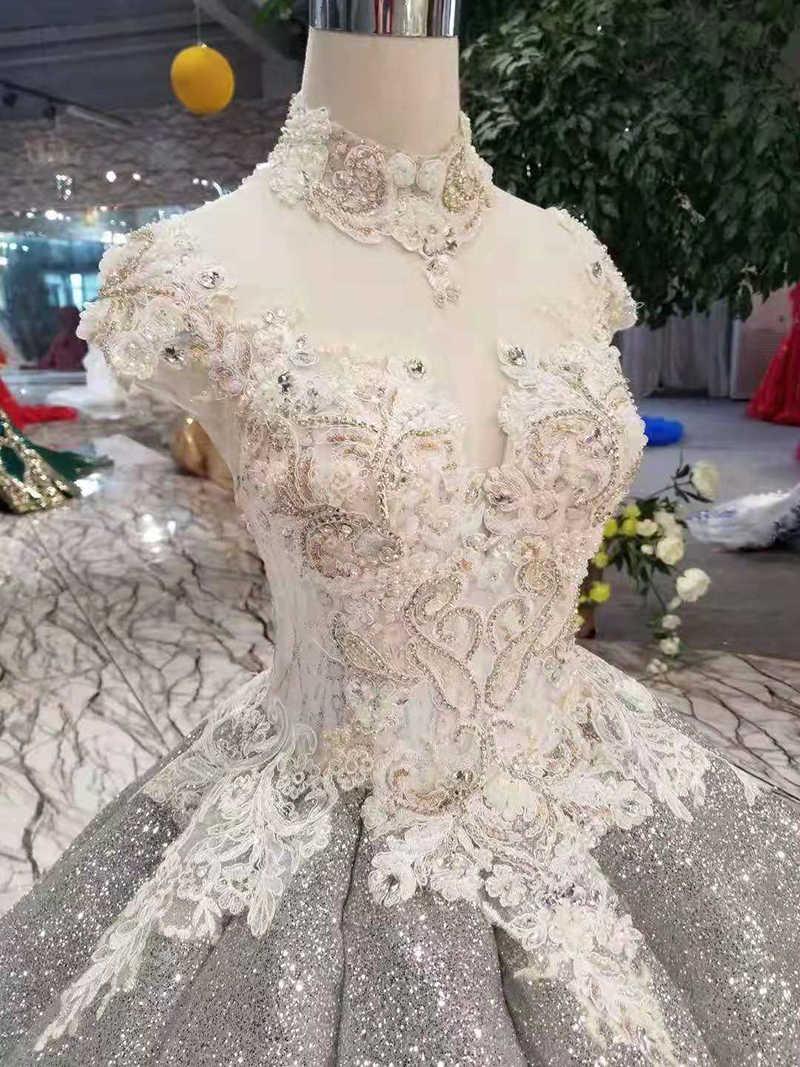 LSS387 sáng bóng vũ hội Đầm bầu cao cổ đường cong hình pleat váy phối ren lưng Đầm nữ nhân dịp Xám