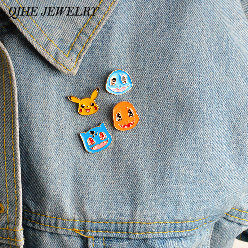 QIHE JEWELRY 4pcs/set brooch Squirtle Bulbasaur Charmander Pikachu Pins Pokemon go pins Game jewelry Game gift ...