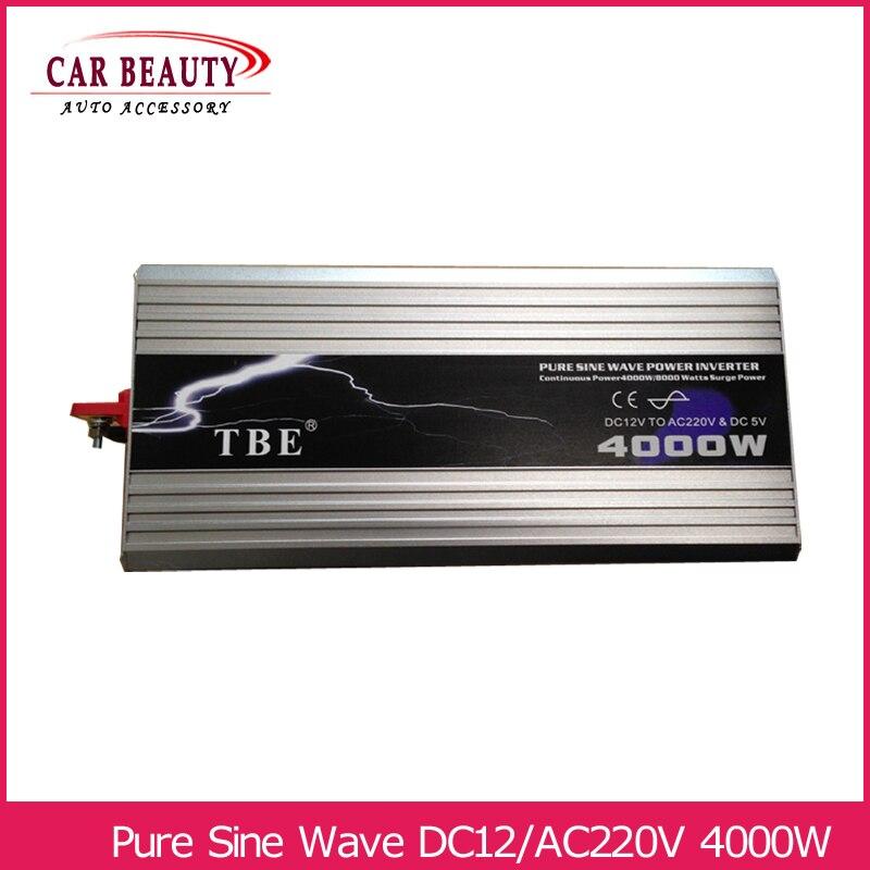 Onduleur 4000 w Pur Onduleur À Onde Sinusoïdale DC 12 v à AC 220 v De Voiture Convertisseur Solaire Power Inverter puissance de crête 8000 w