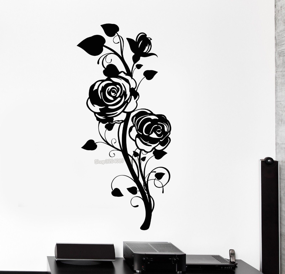 3d Wall Decals Rose Flower Nature Beautiful Home Decor Vinyl