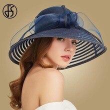 FS 2020 Straw Wide Brim Hat For Women Bowknot White Black Floppy Foldable Beach Hats Female Ladies Spring Summer Sun Visor Caps