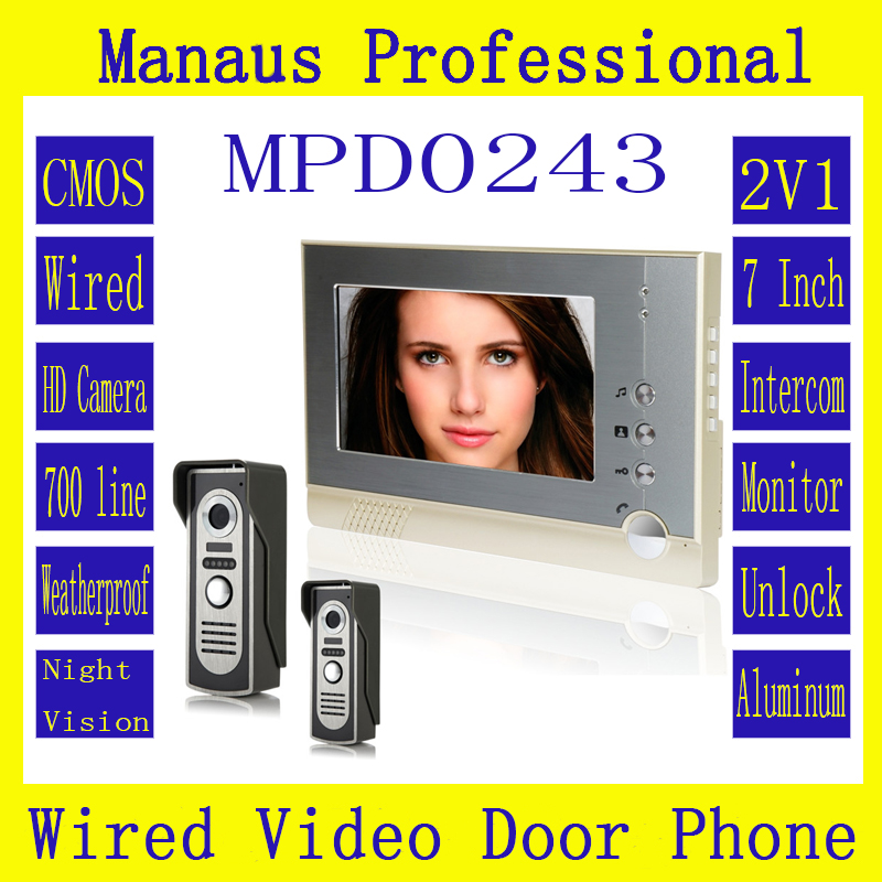 Magnetic Lock Two to One Video Doorphone Device Best Selling 7 inch Screen Display Outdoor Video Door Intercom System D243b