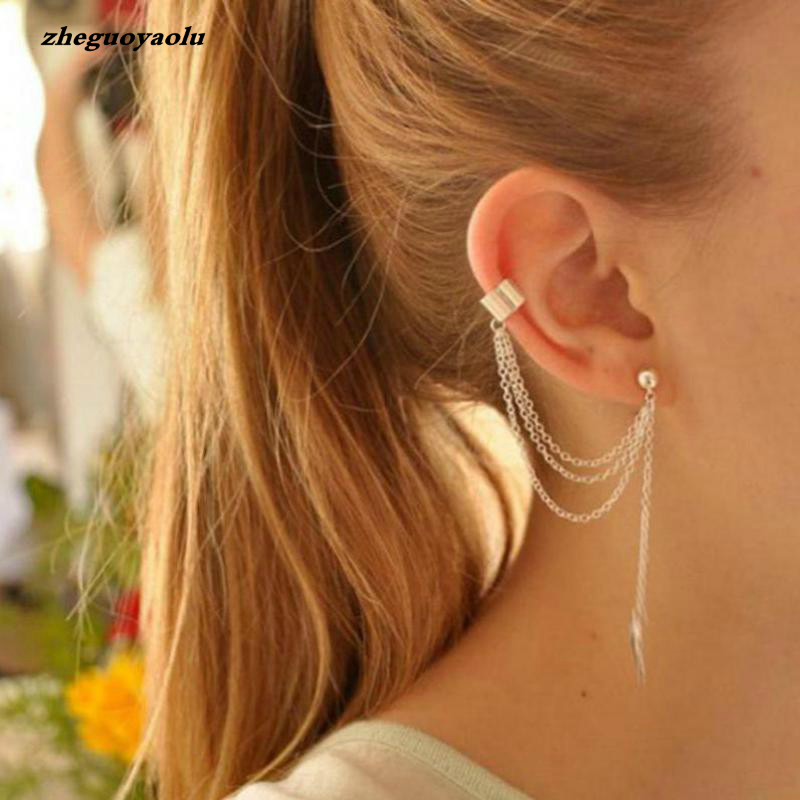 1piece Punk Rock Style Woman Young Gift Leaf Chain Tassel Earrings, Metallic Gold And Silver Jewelry Earrings Ear Clip Wholesale