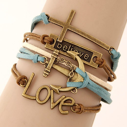 Leather Charm Bracelet - blue brown mixed