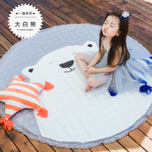 145cm fine joy Cute Rabbit Carpet Animal Toys Kids Game Mats Non-Slip Home Rug Baby Crawling Multifunctional Round Blanket Play