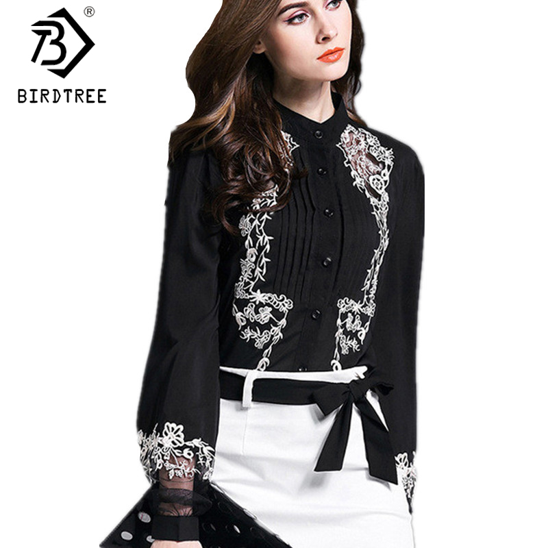 Women Embroidery Transparent Floral Lantern Sleeves Black   Blouse     Shirt   New Fashion Ladies Work Wear Office Chiffon Tops T81634A
